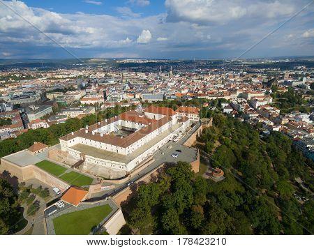 Aerial view of ancient castle Spilberk, Brno, Czech Republic