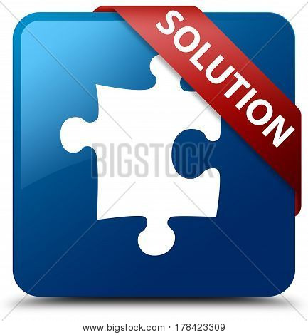 Solution (puzzle Icon) Blue Square Button Red Ribbon In Corner