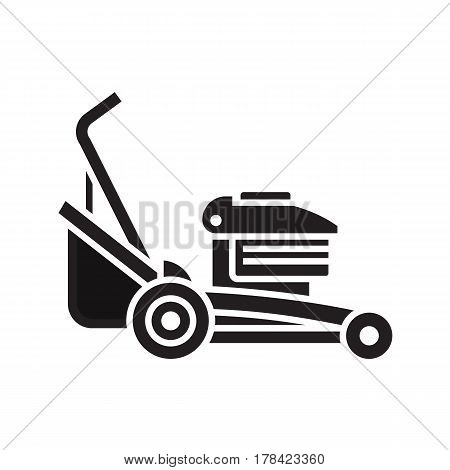 Rotary lawn mower engine in outline design. Grass cutter icon. Gardening machine silhouette vector illustration.