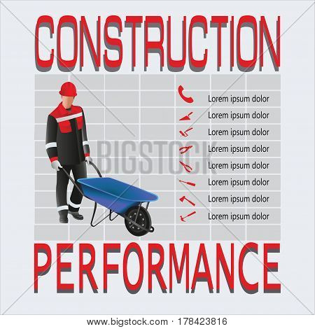 Construction. Working man. Composition a working, grinder for concrete and hand tools. Design for poster: construction, jobs, labor safety, instructions. Vector image.
