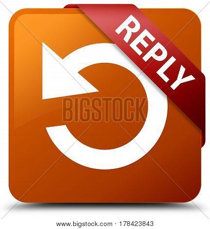 Reply (rotate Arrow Icon) Brown Square Button Red Ribbon In Corner