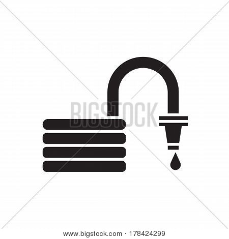 Convoluted garden hose outline icon. Watering hosepipe sprayer silhouette vector illustration.