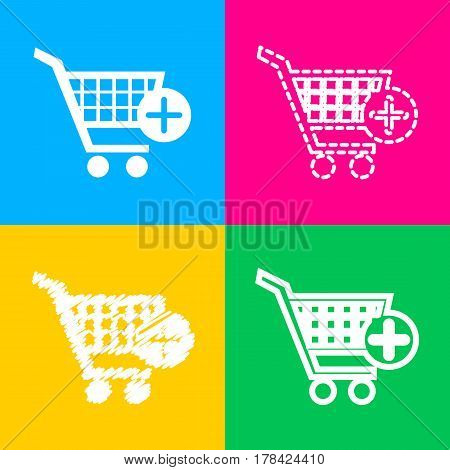 Shopping Cart with add Mark sign. Four styles of icon on four color squares.