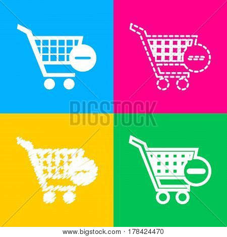 Vector Shopping Cart with Remove sign. Four styles of icon on four color squares.