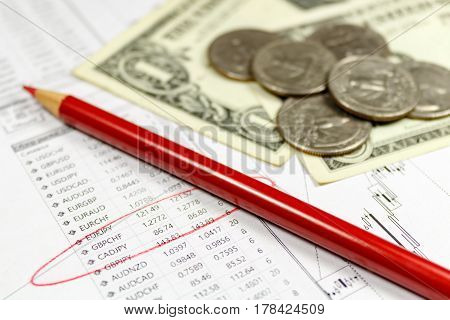 Coins with US dollars banknotes and red pencil on the background of table of exchange rates. Focus in the text