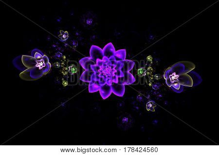 Abstract Fantasy Purple And Green Flowers On Black Background. Fractal Art. 3D Rendering.