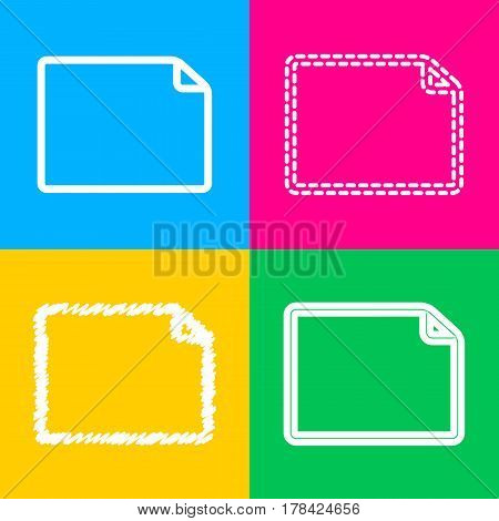 Horisontal document sign illustration. Four styles of icon on four color squares.