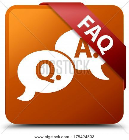 Faq (question Answer Bubble Icon) Brown Square Button Red Ribbon In Corner