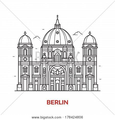 Travel Berlin landmark icon. Dome cathedral is one of the famous tourist attractions in capital of Germany. Thin line baroque church vector illustration in outline design.