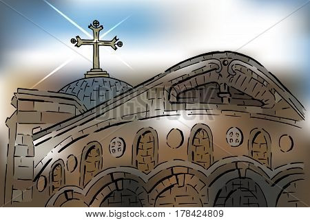 A stylized illustration of the Church of the Holy Sepulcher Old Jerusalem. Vector design