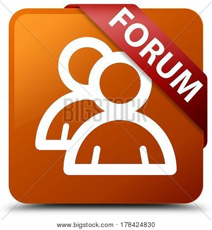 Forum (group Icon) Brown Square Button Red Ribbon In Corner