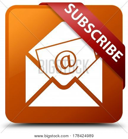 Subscribe (newsletter Email Icon) Brown Square Button Red Ribbon In Corner