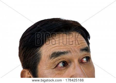 Close up of man eyes on white background
