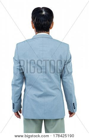 A back turned businessman on white background