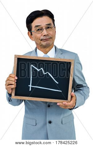 Asian businessman showing black board on white background