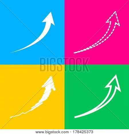 Growing arrow sign. Four styles of icon on four color squares.