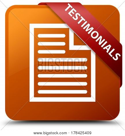 Testimonials (page Icon) Brown Square Button Red Ribbon In Corner