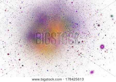Abstract Orange And Purple Sparkles On White Background. Fantasy Fractal Texture. Digital Art. 3D Re