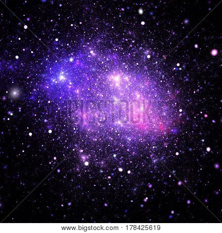 Bright Galaxy. Abstract Pink And Blue Sparkles On Black Background. Fantasy Fractal Texture. Digital