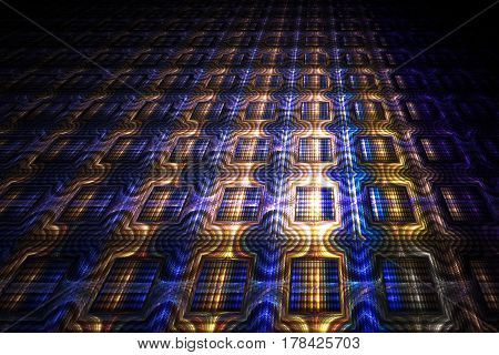Abstract Ornamented Background. Fantasy Golden And Blue Fractal Texture. Digital Art. 3D Rendering.