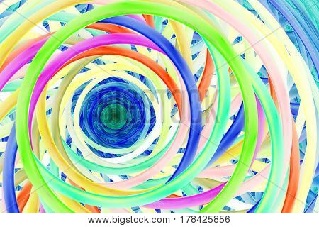 Abstract Colorful Fractal Spiral. Fantasy Design In Yellow, Red, Blue And Green Colors. Digital Art.