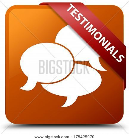 Testimonials (comments Icon) Brown Square Button Red Ribbon In Corner