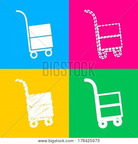 Hand truck sign. Four styles of icon on four color squares.