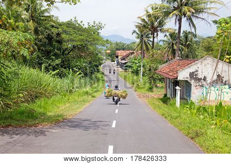 Driving in the countryside from East java in Indonesia