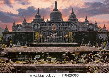 Temple Brahma Vihara Arama Banjar Bali, Indonesia at sunset