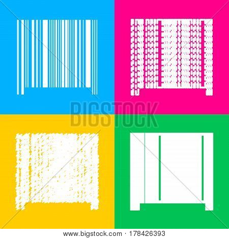 Bar code sign. Four styles of icon on four color squares.