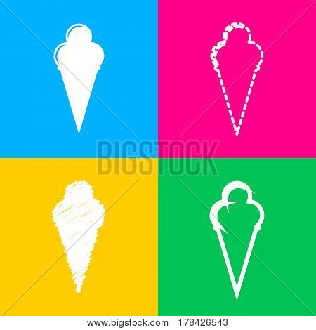 Ice Cream sign. Four styles of icon on four color squares.