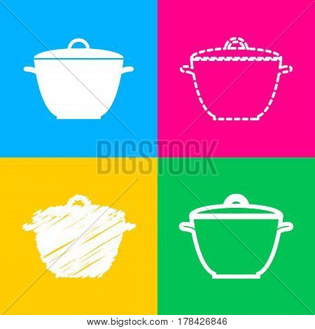 Saucepan simple sign. Four styles of icon on four color squares.