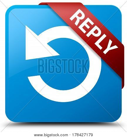 Reply (rotate Arrow Icon) Cyan Blue Square Button Red Ribbon In Corner