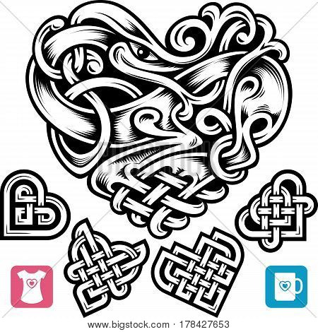 Vector celtic heart set. Cute small irish tattoo or Romantic symbol in the medieval design isolated on white background. Celtic animal and abstract knot pattern
