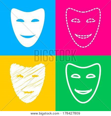 Comedy theatrical masks. Four styles of icon on four color squares.