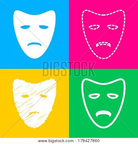 Tragedy theatrical masks. Four styles of icon on four color squares.