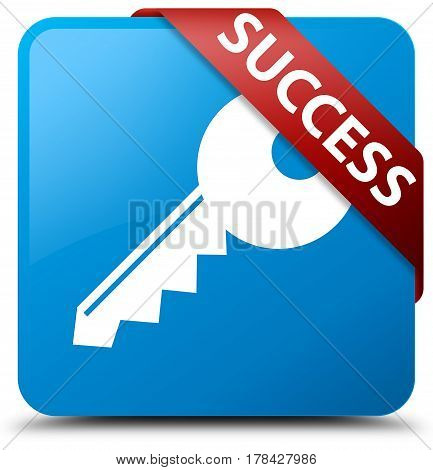 Success (key Icon) Cyan Blue Square Button Red Ribbon In Corner