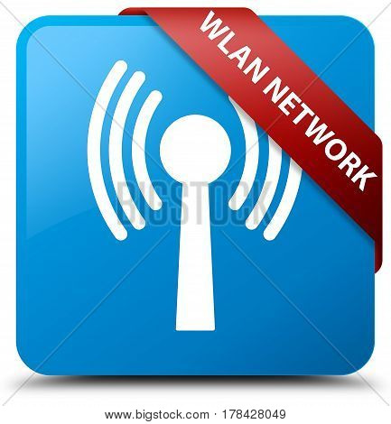 Wlan Network Cyan Blue Square Button Red Ribbon In Corner