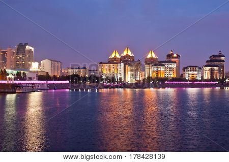 Embankment of the Ishim river in the evening. Astana. Kazakhstan