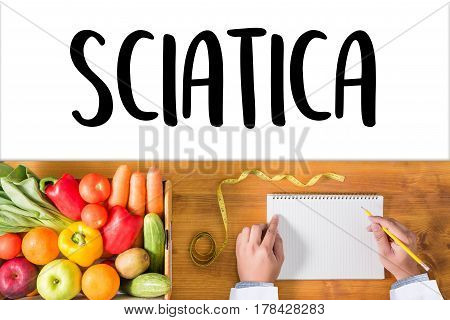 Sciatica Doctor Hand Working Professional Medical Concept