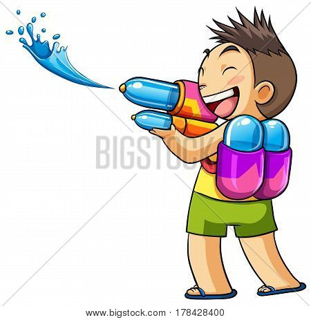 kid playing water gun summer vector illustration