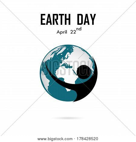 Human and globe icon vector logo design template.Earth Day campaign idea concept.Earth Day idea campaign for greeting CardPosterFlyerCoverBrochureAbstract background.Vector illustration