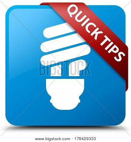 Quick Tips (bulb Icon) Cyan Blue Square Button Red Ribbon In Corner