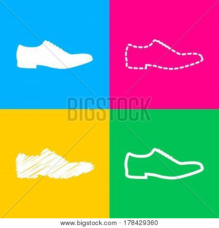 Men Shoes sign. Four styles of icon on four color squares.