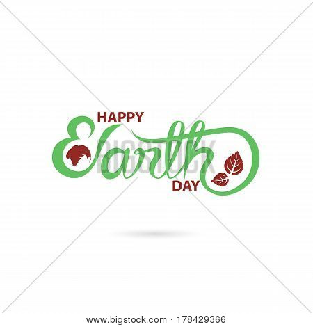 Green Happy Earth Day Typographical Design Elements. Happy Earth Day hand lettering icon.Happy Earth Day logotype symbol.Design for greeting CardPosterFlyerCoverBrochureAbstract background.Vector illustration