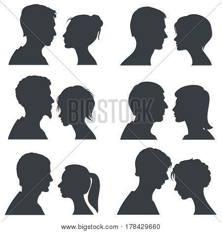 Couple faces, young boy and girl head vector silhouettes isolated on white. Girl and boy silhouette head, illustration of profile young couple boy and girl