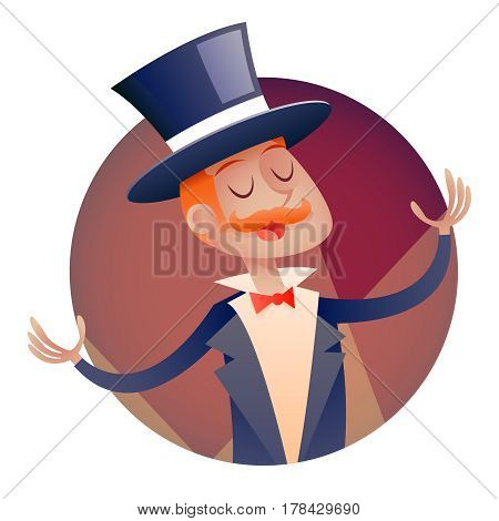 Circus Show Boy Host Man in suit with Cylinder Hat Icon on Stylish Background Retro Cartoon Design Vector Illustration
