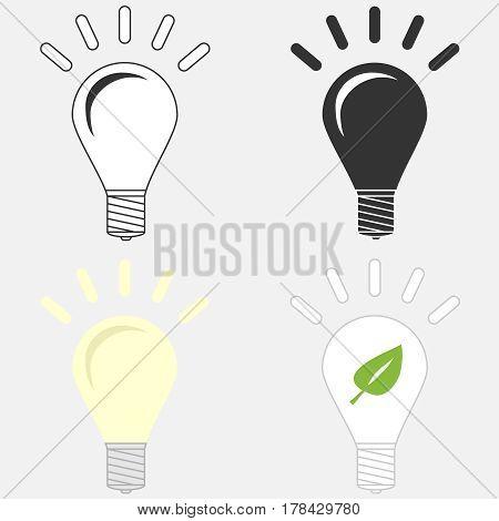 Light bulb. Flat design vector illustration vector.