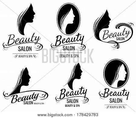 Beautiful female face portrait, woman head silhouette vector logo templates for barber shop, beauty salon, cosmetic products, spa center. Illustration of stylish emblem spa salon
