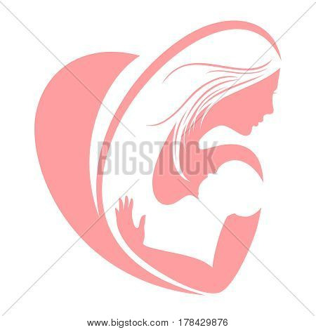 Mum and happy child silhouettes, mothers day vector concept. Mother and child concept, happy love mother with baby illustration